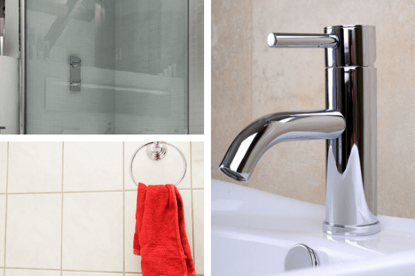 Clear shower glass in a bathroom, white bathroom tiles with a red towel and a modern chrome bathroom mixer tap. Tap image ID 2741508 © Norman Pogson | Dreamstime.com