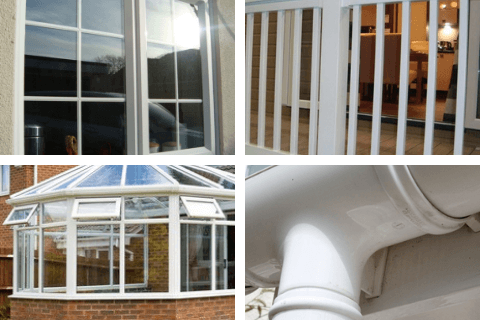 uPVC window frame, uPVC ballustrade on a static home, upvc conservatory and white upVC guttering restored with Vistal